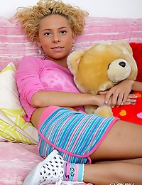 Curly haired blonde Slovak teen babe Bryana gets pink slit toyed and fucked hard